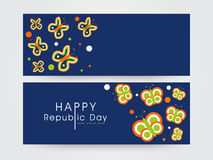 El jefe o la bandera del sitio web fijó para el día indio de la república Imagen de archivo