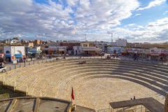 El Jem city view from the Roman amphitheater of Thysdrus, a town in Mahdia governorate of Tunisia Royalty Free Stock Photos