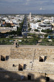 El Jem city view from the Roman amphitheater of Thysdrus, a town in Mahdia governorate of Tunisia Royalty Free Stock Images