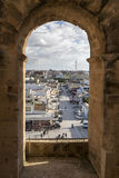 El Jem city view from the Roman amphitheater of Thysdrus, a town in Mahdia governorate of Tunisia Stock Images
