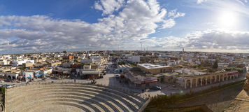 El Jem city view from the Roman amphitheater of Thysdrus, a town in Mahdia governorate of Tunisia Royalty Free Stock Image