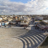 El Jem city view from the Roman amphitheater of Thysdrus, a town in Mahdia governorate of Tunisia Stock Photo