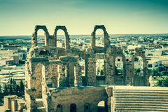 El Jem Coliseum ruins in Tunisia fighting gladiator Royalty Free Stock Photography