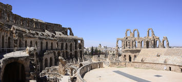 El Jem Colosseum Arena Panorama, Roman Empire Architecture Landmark. El Jem amphitheatre (or Thysdrus) is the largest colosseum in North Africa  and the second Stock Images