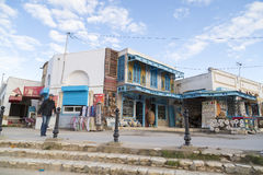 El Jem从Thysdrus罗马圆形剧场,突尼斯的马赫迪耶省的一个镇的城市视图 免版税库存图片