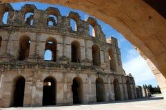 El Jem in Tunisia. Ancient amphitheatre El Jem in Tunisia, world heritage site Stock Photo