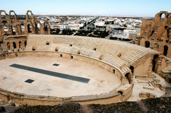 El Jem in Tunisia. Ancient amphitheater El Jem in Tunisia, central view stock images