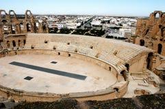 El Jem in Tunisia. Ancient amphitheater El Jem in Tunisia, central view Stock Images