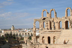 El-jem. Villas The Roman Colosseum in El Djem is one of the largest Colosseums ever built and the jewel in the crown of the Roman town of Thysdrus which once Royalty Free Stock Images