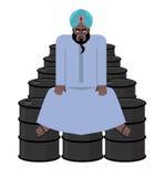 El jeque se sienta en los barriles de petróleo Riqueza del sultán Imágenes de archivo libres de regalías