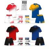 El jersey de fútbol o el equipo y el cortocircuito del fútbol jadean la plantilla para el catálogo de la ropa de deportes ilustración del vector