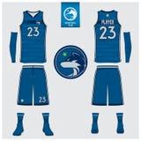 El jersey del baloncesto, pantalones cortos, pega la plantilla para el club del baloncesto Uniforme delantero y trasero del depor stock de ilustración
