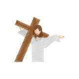 el Jesucristo del dibujo lleva la cruz stock de ilustración