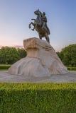 El jinete de bronce en St Petersburg por la mañana Imágenes de archivo libres de regalías