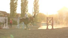 El jinete de la muchacha salta sobre la barrera en la puesta del sol lentamente almacen de metraje de vídeo