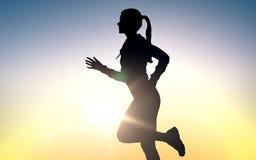 El joven feliz se divierte a la mujer que corre al aire libre stock de ilustración