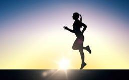 El joven feliz se divierte a la mujer que corre al aire libre ilustración del vector