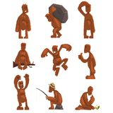 El juego de caracteres divertido de la historieta de Bigfoot, criatura mítica en diversas situaciones vector ejemplos en un blanc ilustración del vector