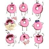El juego de caracteres rosado divertido de la historieta del buñuelo, buñuelo lindo con diversas emociones vector ejemplos Fotografía de archivo libre de regalías