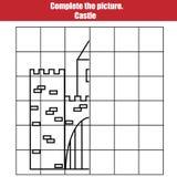 El juego de la copia de la rejilla, termina a los niños de la imagen Hoja imprimible de la actividad de los niños con el castillo Foto de archivo libre de regalías