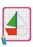 El juego de la simetría, el barco ilustración del vector