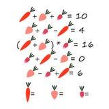 El juego de los niños que cuenta verduras stock de ilustración