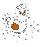 El juego de los puntos, la gallina stock de ilustración
