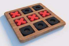 El juego de madera del dedo del pie del tac del tic en blanco empañó el fondo Cruces Rojas Fotografía de archivo libre de regalías