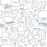 El juego de ordenador, dispositivo, bosquejo social del vector del juego garabatea el modelo inconsútil ilustración del vector
