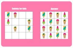 El juego de Sudoku con helado para los niños, nivel fácil, juego para los niños, actividad preescolar de la hoja de trabajo, tare ilustración del vector