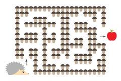 El juego del laberinto del otoño, ayuda al erizo a encontrar una salida del laberinto, personaje de dibujos animados lindo, activ ilustración del vector