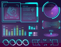El juego del movimiento de espacio del interfaz y el gráfico infographic gráficos futuristas del diseño del hud de los elementos  libre illustration