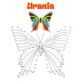 El juego educativo conecta puntos con la mariposa del drenaje Fotos de archivo libres de regalías