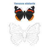 El juego educativo conecta puntos con la mariposa del drenaje Fotografía de archivo