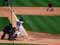 El juego el 11 de julio de 2010, Miguel Cabrera de los tigres golpea Imágenes de archivo libres de regalías