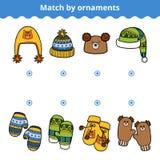 El juego a juego para los niños, hace juego la manopla y los sombreros libre illustration