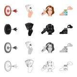 El juego, los dardos, la mano, y el otro icono del web en estilo de la historieta Salud, cualidades, iconos de la afición en la c ilustración del vector