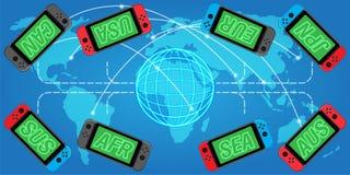 El juego online se une a al mundo stock de ilustración