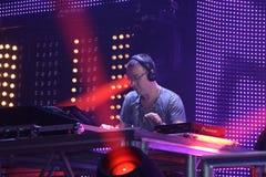 El JUEZ JULES de DJ se realiza en la onda urbana fistival el 16 de abril de 2011 en Minsk, Bielorrusia Fotografía de archivo