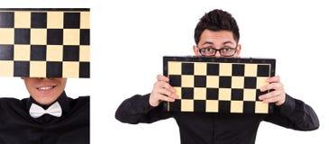 El jugador de ajedrez divertido aislado en blanco Fotos de archivo