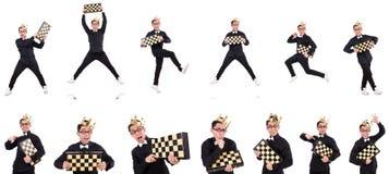 El jugador de ajedrez divertido aislado en blanco Imagen de archivo libre de regalías