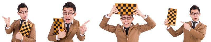 El jugador de ajedrez divertido aislado en blanco Imágenes de archivo libres de regalías