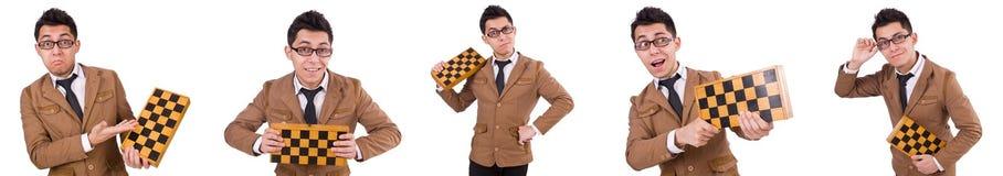 El jugador de ajedrez divertido aislado en blanco fotografía de archivo libre de regalías