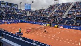 El jugador de Kei Nishikori en la Barcelona se abre, un torneo de tenis anual para el jugador profesional masculino foto de archivo libre de regalías