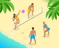 El jugador de la bola del voleo de la playa salta en la red e intenta bloques la bola Concepto activo del día de fiesta del veran Imagen de archivo libre de regalías