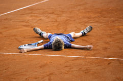 El jugador de tenis del campeón Imágenes de archivo libres de regalías