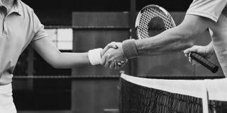 El jugador de tenis sacude concepto hecho partido de las manos imagenes de archivo