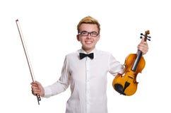 El jugador divertido joven del violín aislado en blanco fotos de archivo libres de regalías