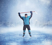 El jugador profesional del hockey sobre hielo da para arriba Imágenes de archivo libres de regalías