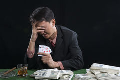 El jugador utilizó una mano de la cara con la tensión Imágenes de archivo libres de regalías